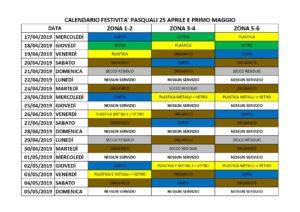 CALENDARIO FESTIVITA PASQAULI 2019