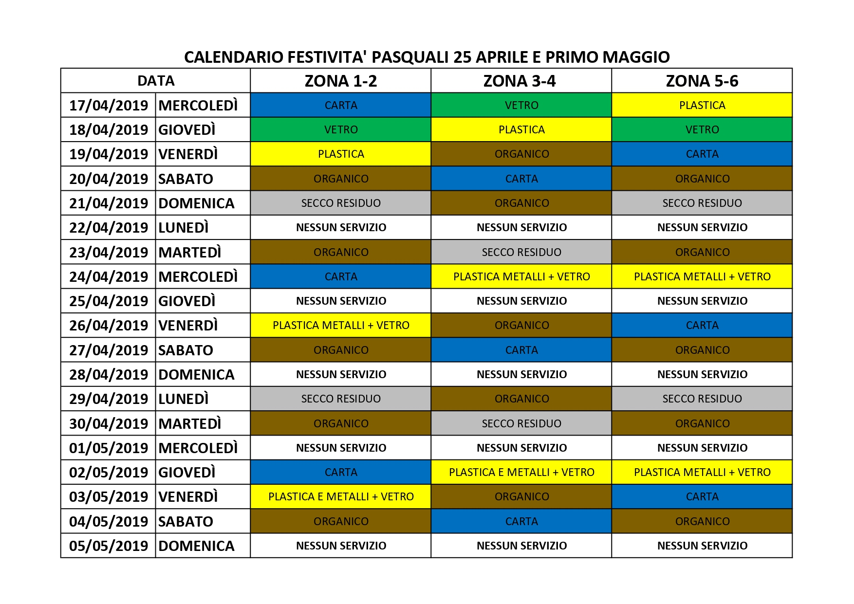 Calendario Differenziata.Zona 5 6 Archives Progetto Ambiente
